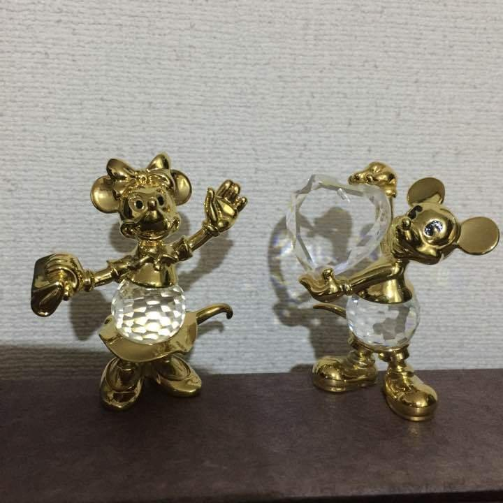 Tokyo Disney Land LENCIA AUSTRIA Mickey Mouse and Minnie Mouse Crystal Ornament