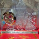 Disney Beauty and the Beast 2 Set Premium Crystal Clock Set Glass Carving Clock