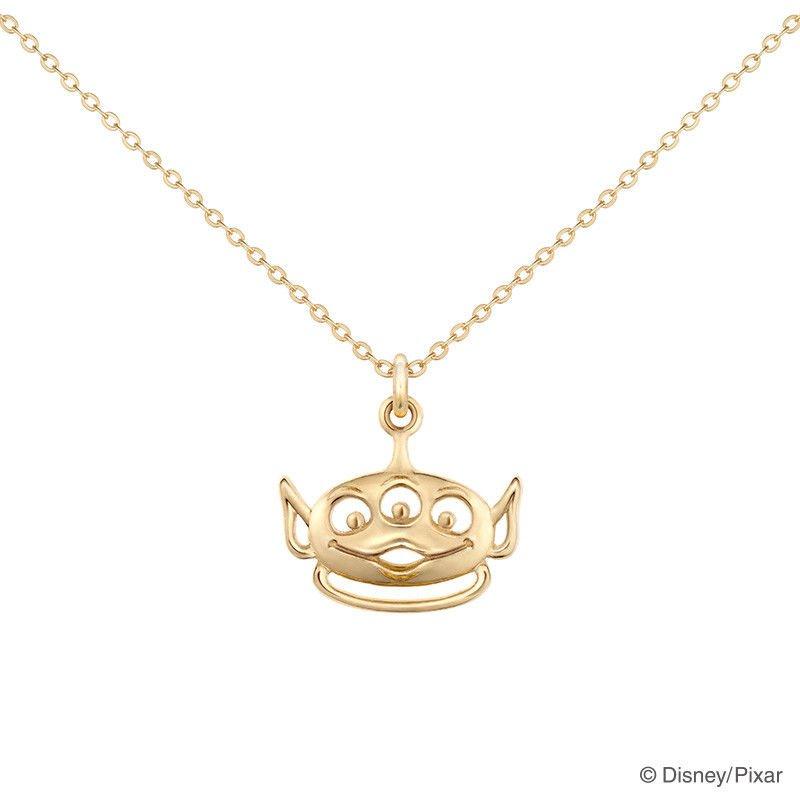 Disney Store JAPAN Little Green Men Alien K18 Necklace Pendant  BYK.UNO