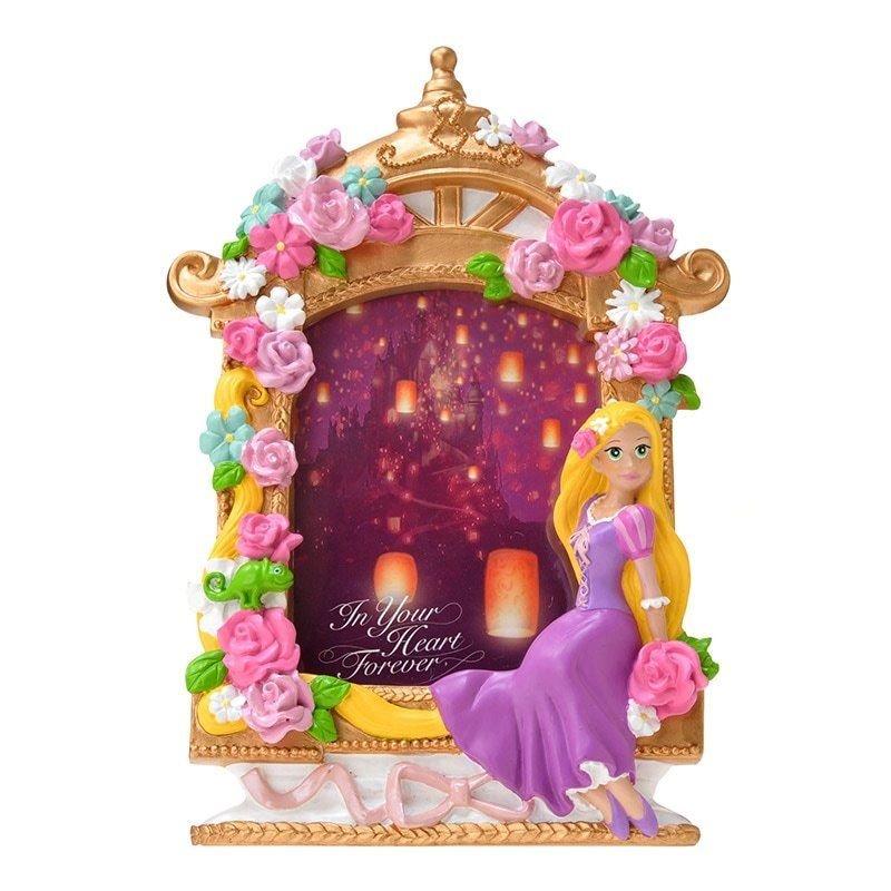 Disney store Japan Pink Rose flower Rapunzel Figure Photo frame 3D Stand