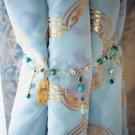 Made in Japan Disney Aladdin Jasmine 2 Curtain Tassel Set Turquoise Glass Holder