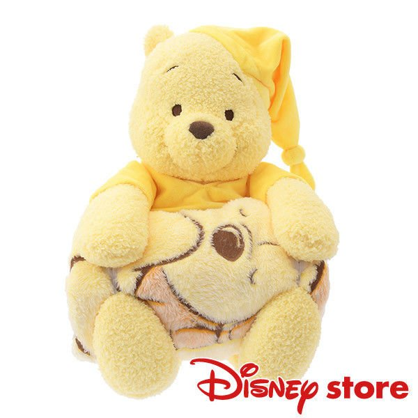 Disney Store Winnie the pooh Plush doll with branket Relax time Pajamas Pooh