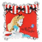 Disney Store Japan Alice  in wonderland cushion ALICE PARTY Ribbon embroidery