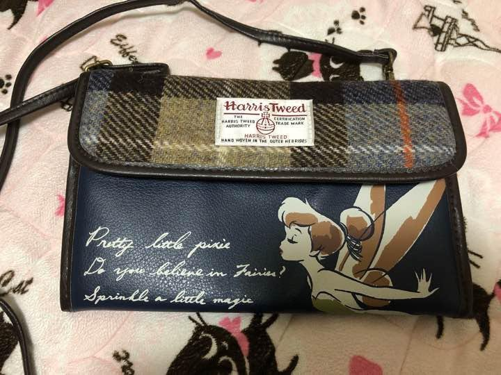 Disney Harris Tweed Tinker Bell Shoulder Bag Pochette Wallet Pouch