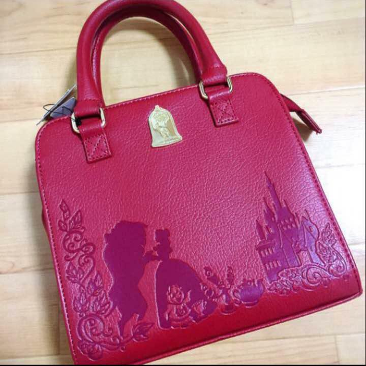 Disney HOT TOPIC Beauty and the Beast Embossed handbag 2WAY shoulder wine-red