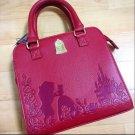 Disney HOT TOPIC Beauty and the Beast Embossed handbag 2WAY shoulder wine-red