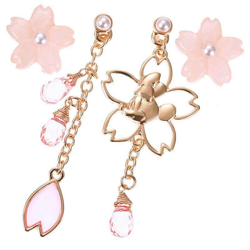 Disney Store JAPAN  Minnie Mouse Cherry Blossom Earring set Swing design Pearl