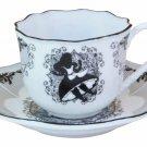 Disney Alice porcelain ribbon party demitasse espresso cafe cup & saucer set