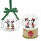 Disney 2016 Christmas Doll Figure Mickey & Minnie Ornaments & Snow Dome
