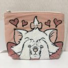 .Disney Aristo cats Marie Sagara embroidery Pouch Pink Accessory case Pochette