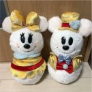 TDR Christmas 30th Mickey & Minnie Mouse  Snow Snow man Gold Costume Plush doll