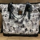 Disney DOONEY & BOURKE Mickey Comic pattern Tote Hand Bag Black Shoulder Tassel