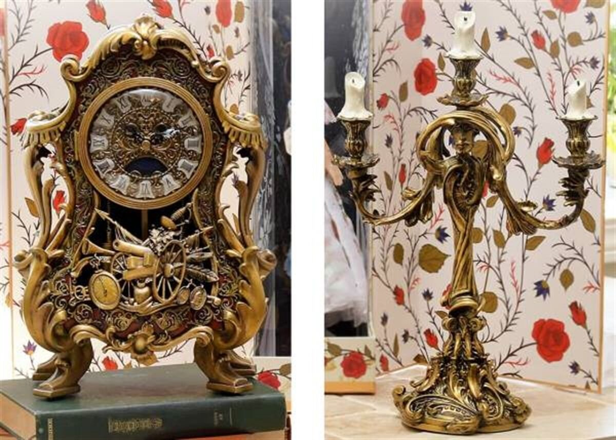 Limited 2000 Beauty And The Beast Cogsworth Clock & Lumiere light Be Our Guest