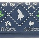 Disney Store Japan Alice Embroidery long Wallet Rose Navy purse White Rabbit
