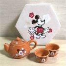 Disney Mickey Mouse Japanese teapot & 2 tea cup set Brown Dinnerware Gift