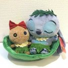 Disney Hawaiian Stitch & Scrump Plush doll in Leaf boat Canoe Tanning Scrump