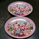 Tokyo Disneyland Alice 2 Souvenir Plate set Pair Queen of hearts pink pottery
