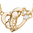 Disney Winnie the Pooh Necklace Heart silver 925 Yellow Gold Color Pendant