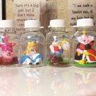 Disney Alice Chisha Cat Heart Queen White Rabbit Plastic Bottle Figure Set