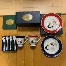 Disney Alice White Rabbit Cheshire Cat Pair Mug & Spoon & Cake Plate Set Tablewa