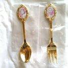 Disney Aristocats Marie Cutlery Tea spoon & tea fork set pink Rose Cat Day 2020