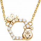 Disney Winnie the Pooh Sterling Silver Honeycomb Necklace Pendant Yellow Gold
