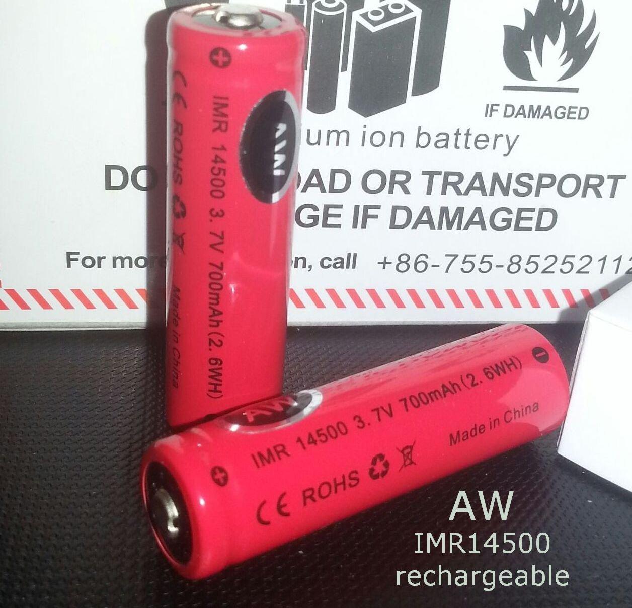 2 pcs AW IMR 14500 700mAh battery vape Mechanical Mods cig