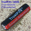 TRUSTFIRE 14500 900mAh PCB protected Li-ion battery vape Mechanical Mods cig torch flashlight