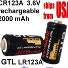 2 PCS GTL LR123A 2000mAh 16340 CR123A Rechargeable Battery 3.6V