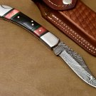 "HAND MADE DAMASCUS STEEL POCKET FOLDING KNIFE - LOCK BACK 9"" length AZ054"