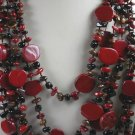 Womans Red Jasper  black Onyx Brown Tigers Eye Necklace