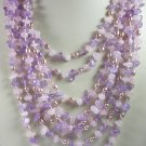 8 Strand Purple Amethyst Pink Rose Quartz Amethyst Necklace