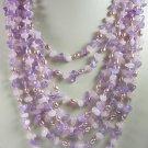 8 Strand Purple Amethyst Pink Rose Quartz Amethyst Necklace