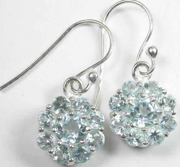 Dangle Blue Topaz Flower Earrings Sterling Silver