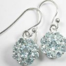Dangle Blue Topaz Flower Earrings Sterling Silver