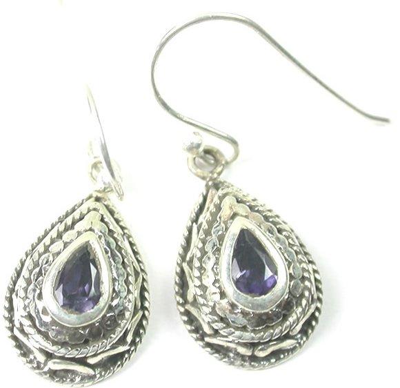 Teardrop Purple Iolite Earrings Sterling Silver