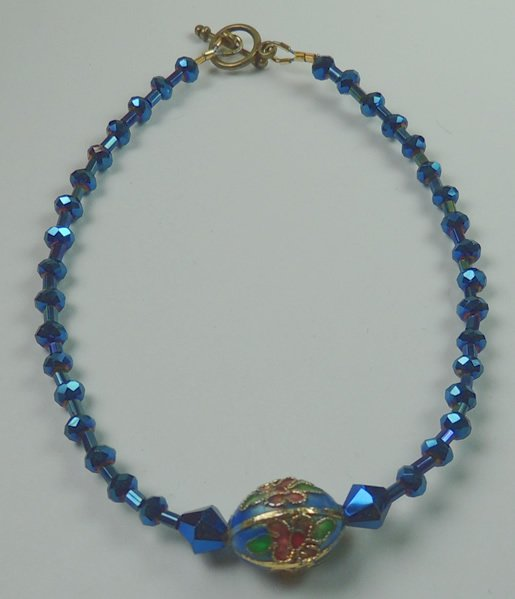 Midnight Blue Crystal and Floral Cloisonne Anklet