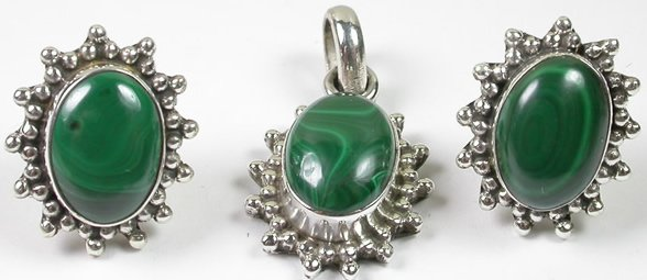 Green Malachite Pendant and Earrings Set in Sterling Silver