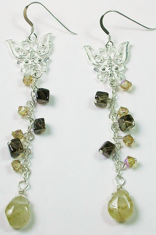 Gold Rutilated and Brown Smoky Quartz Earrings with Butterflies in Sterling Silver