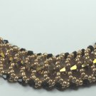 handcrafted Gold and Black Crystal and Seed Bead Bracelet