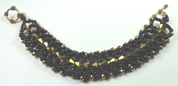 handcrafted Bronze and Black Crystal and Seed Bead Bracelet