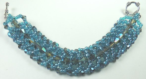 handcrafted Turquoise Crystal and Seed Bead Bracelet
