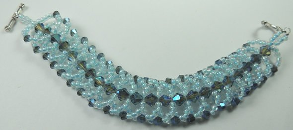 handcrafted Turquoise Aqua Crystal and Seed Bead Bracelet