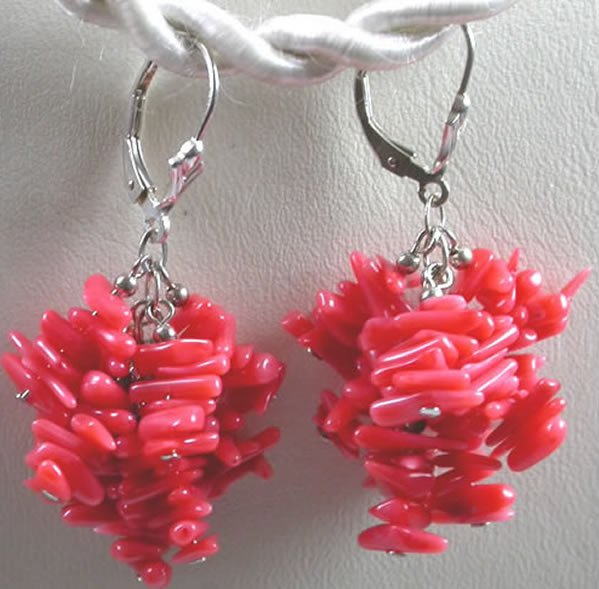 handcrafted Salmon Colored Coral Earrings