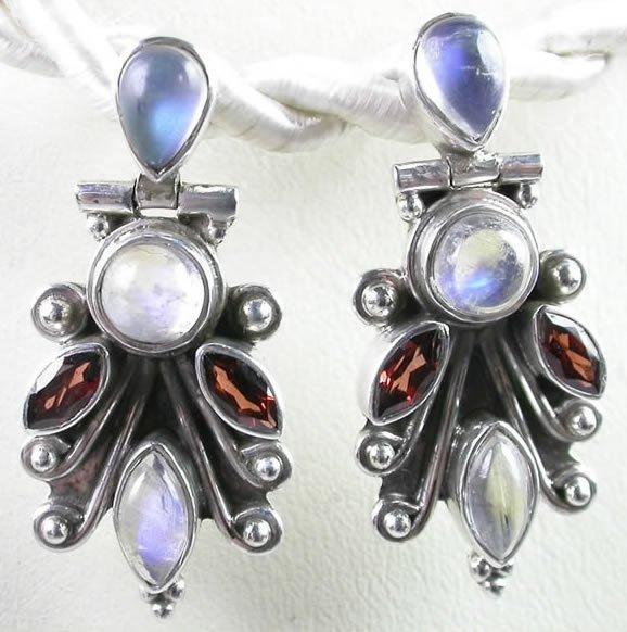Red Garnet & White Moonstone Earrings in Sterling Silver