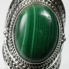 Large Green Malachite Ring in Sterling Silver