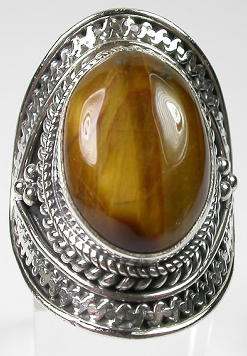 large Brown Tigers Eye Ring in Sterling Silver size 7