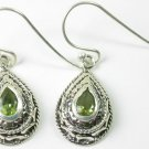 Teardrop Green Peridot Earrings in Sterling Silver