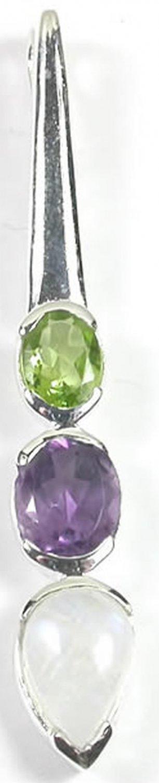 Green Peridot Moonstone Purple Amethyst Pendant in Sterling Silver