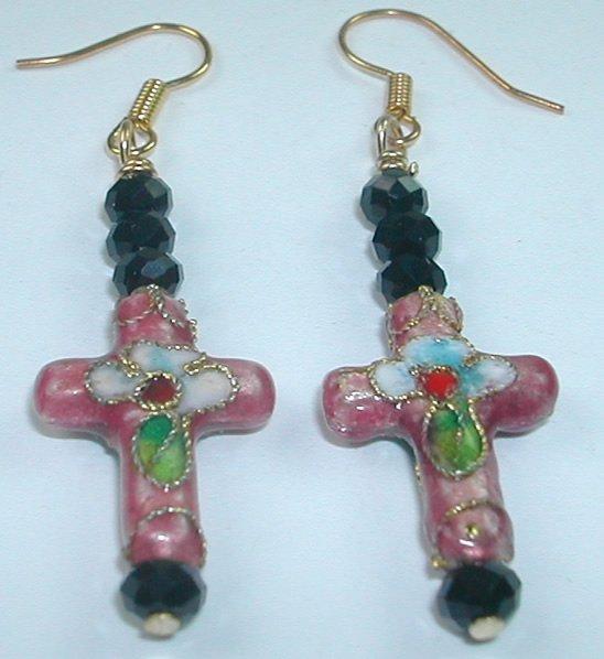 Pink Cloisonne Cross Earrings with Black Crystal